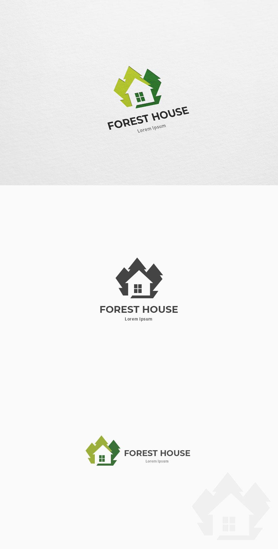 숲 나무 하우스 집 로고 전시관